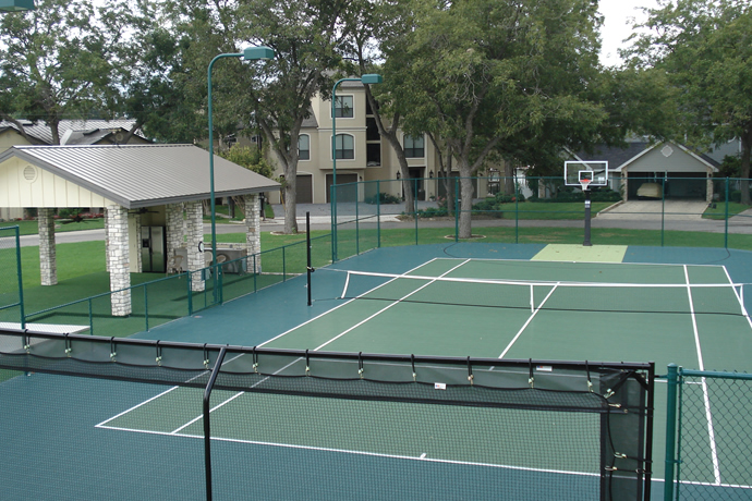 How To Make Tennis Court In Backyard :  San Antonio  Outdoor Basketball Court  Backyard Tennis Court